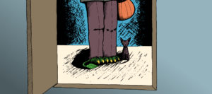 illustration of a monster dressed up as a boy going trick or treating, lower body only