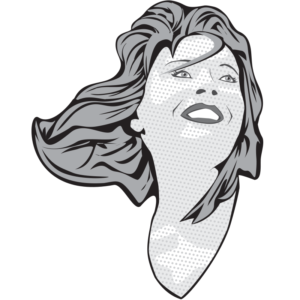 Grayscale vector Illustration of a female as comic book pop art